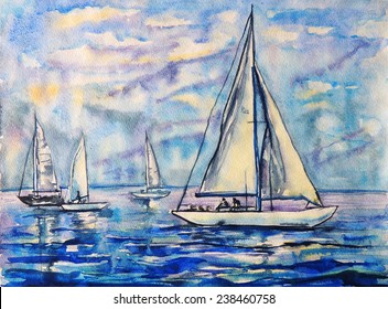Watercolor painting of sailboats drift in the blue sea