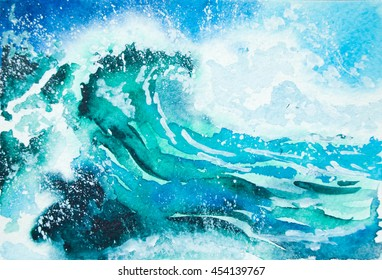 Watercolor painting - sea wave
