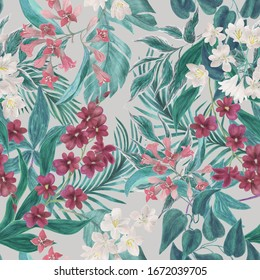 Watercolor painting seamless floral pattern with tropical flowers