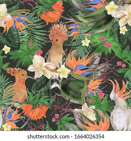 Watercolor painting seamless pattern with beautiful flowers and hoopoe birds ,  tropical leaves