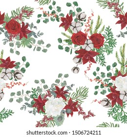 watercolor painting seamless pattern with  christmas composition, red flowers and cotton, berries