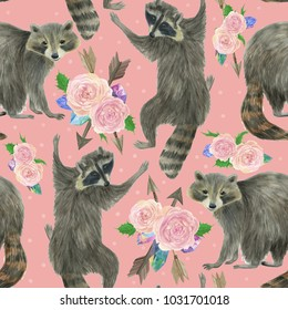 Watercolor painting seamless pattern with cute racoons and rose flowers
