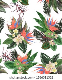 Watercolor painting seamless pattern with exotic palm leaves and bird of paradise flowers. Tropical summer background