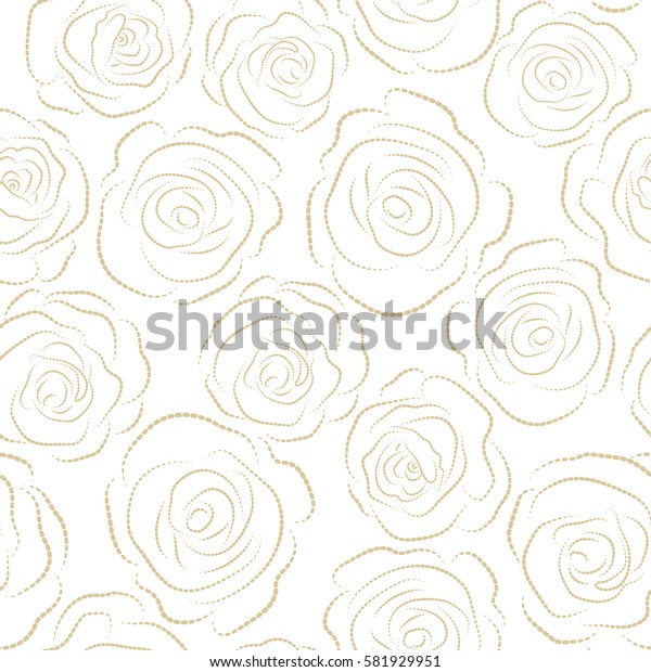 Watercolor painting seamless pattern. Seamless floral pattern in beige colors. Monochrome roses on a white background with a band of flowers.