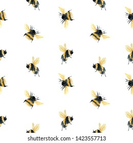 Watercolor painting seamless pattern with flying bumblebee, bee on a white background.  Sketch style. Perfect for business, invitation and web design, bed linen, textiles, wrapping paper