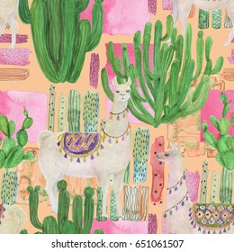 Watercolor painting seamless pattern with llamas and cacti