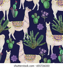 Watercolor painting seamless pattern with llamas and cacti, flowers
