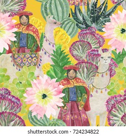 Watercolor painting seamless pattern with llamas, woman from Peru and cacti