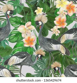 Watercolor painting seamless pattern with plumeria flowera and grey crowned crane birds