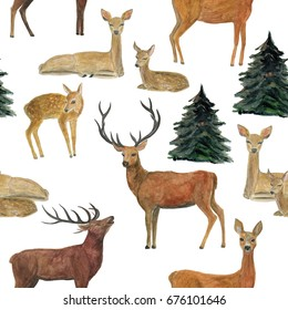 Watercolor painting seamless pattern with reindeer and Christmas tree