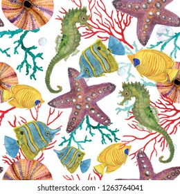 Watercolor painting seamless pattern with seahorse, sea fish, coral, stars