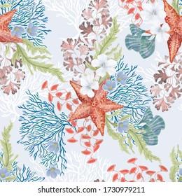 Watercolor painting seamless pattern  with seastar, flowers, corals, seaweed