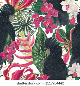 Watercolor painting seamless pattern with tropical leaves, floweras and black parrots