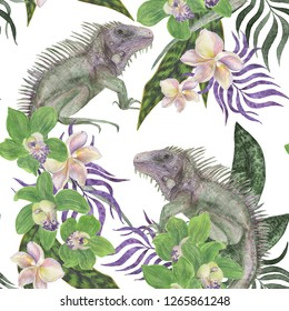 Watercolor painting seamless pattern with tropical leaves orchid flowers and iguana