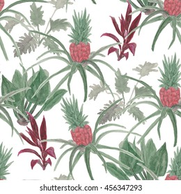 Watercolor painting seamless pattern tropical, palm trees, bananas, pineapples. Tropical garden.