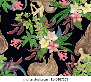Watercolor painting seamless pattern with tropicals flowera and cute mermaids
