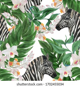 Watercolor painting seamless pattern with tropicals leaves, flowers and zebra animals
