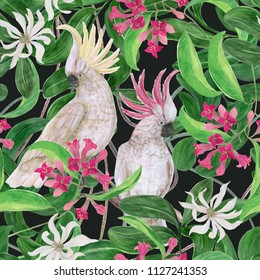 Watercolor painting seamless pattern with white cockatoo birds and  tropical flowers, leaves