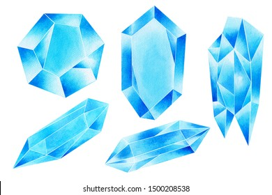 Watercolor painting set of blue gemstone,sapphire,minerals,quartz ,colorful blue aqua aura crystal cluster closeup isolated on white background.