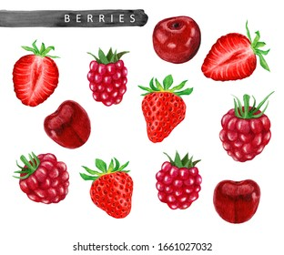 Watercolor painting set of fresh berries, strawberry, raspberry and cherry isolated on white background