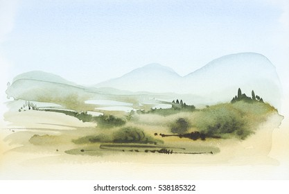 watercolor painting showing a landscape in Tuscany at summer time