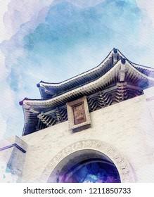Aquarellmalerei oder Simulation Aquarellmalerei eines chinesischen Palastgebäudes unter blauem Himmel.