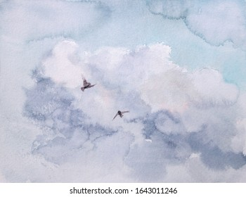 Watercolor painting, sky cloud with two flying birds