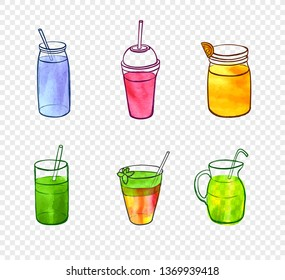 Watercolor Painting, Smoothie Glasses, Design Elements Isolated on Light Transparent Background.