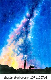 Watercolor Painting - Starry Night With Galaxy