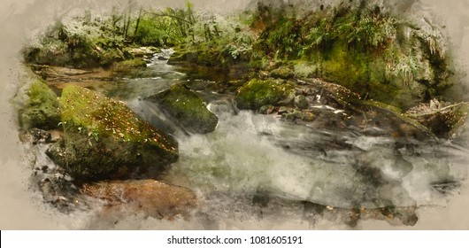Watercolor painting of Stunning landscape of river flowing through lush forest Golitha Falls in England