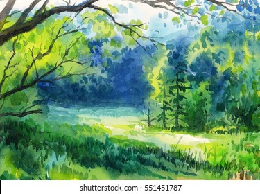 Watercolor painting of summer forest
