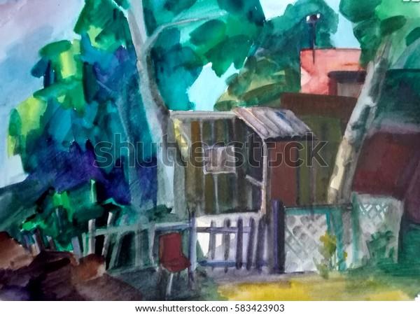 watercolor painting, summer landscape