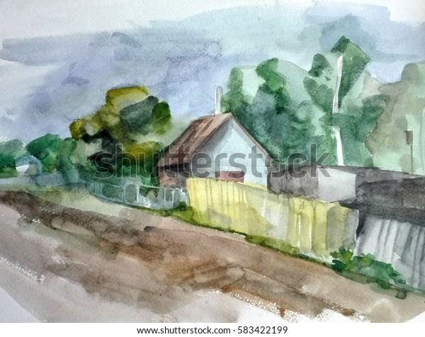watercolor painting, summer landscape with road