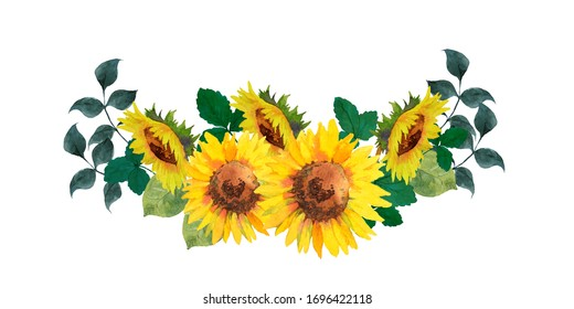 Watercolor painting of sunflower decoration