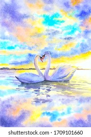 Watercolor Painting - Swans with Heart Shape