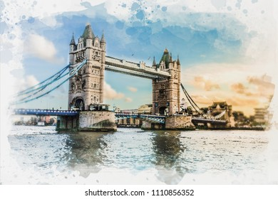 Watercolor painting of Tower bridge and Thames river London on watercolor paper texture background