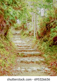 Watercolor Painting; Trail at the World Heritage Forest Kumano Kodo, Wakayama Prefecture, Japan, May, 2012