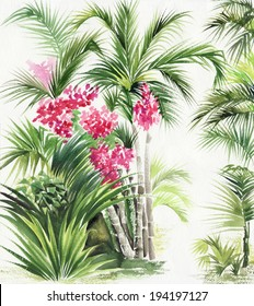 Watercolor painting of tropical plants. Original style.