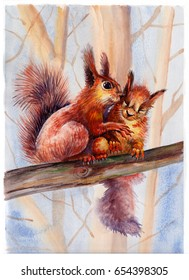 Watercolor painting of two squirrels sitting on a tree branch