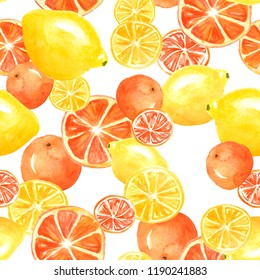 Watercolor painting, vintage seamless pattern - tropical fruits, citrus, slices of lemon, orange, grapefruit. Citrus marmalade, slices. Yellow, orange, red. Fashionable stylish art background.