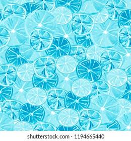 Watercolor painting, vintage seamless pattern - tropical fruits, citrus, slices of lemon, orange, grapefruit. Citrus marmalade, slices. Blue, white, monochrome. Fashionable stylish art background.
