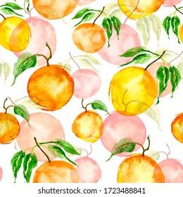 Watercolor painting, vintage seamless pattern - tropical fruits, citrus, slices of lemon, orange,  grapefruit. Splash of paint yellow, red and orange. pattern of mandarin, orange, citrus leaves.