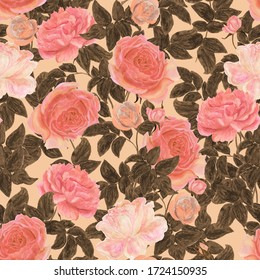 Watercolor painting vintage seamless pattern with beautiful peach  color rose flowers