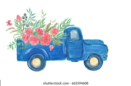 Watercolor painting vintage truck with flowers
