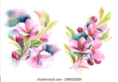 watercolor painting wet in wet floral isolated bouquet arrangement with pink blooming cherry tree, magenta buds and green leaves blurred abstract flowers on white background print artwork