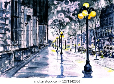 Watercolor painting. Winter in Europe, the old city. Slush at night