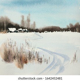 Watercolor painting, winter landscape with forest and old houses