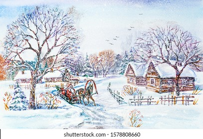Watercolor painting: Winter village landscape with Santa in sleigh