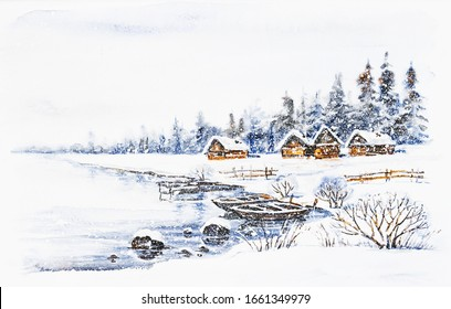 Watercolor painting: Winter village landscape with boats on frozen river