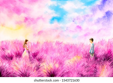 Watercolor Painting - Young Couple staring at each other in lavender field
